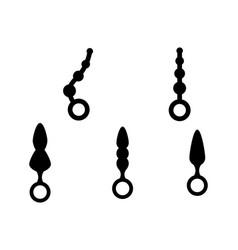 Adult anal sex toys set various anus butt plug vector