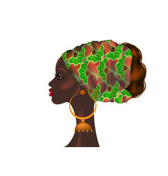 Afro hairstyle portrait african woman in turban vector