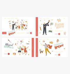 amusement show landing page template set animator vector image