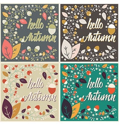 Autumn card design with floral frame and message vector image