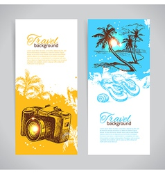 Banner set of travel colorful tropical banners vector image