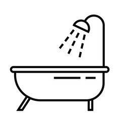 bathtub bathroom toilet icon with outline and vector image