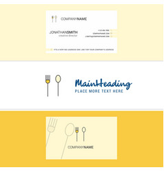 beautiful fork and spoon logo and business card vector image