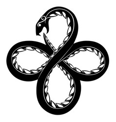 Black and white coiled serpent ouroboros vector