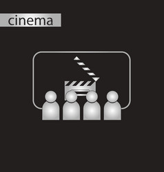 Black and white style icon people in cinema vector