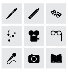 black art icon set vector image