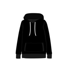 black sweatshirt hooded fashion style item vector image