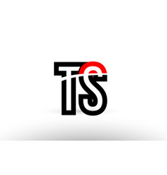black white alphabet letter ts t s logo icon vector image