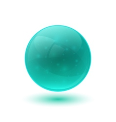 Blue glossy glass sphere vector image