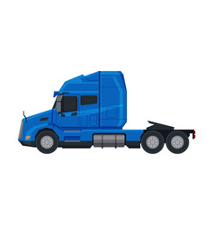 blue semi truck side view cargo modern vector image
