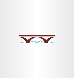 Bridge and river wave sign vector