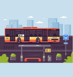 Bus public transport at stop vector