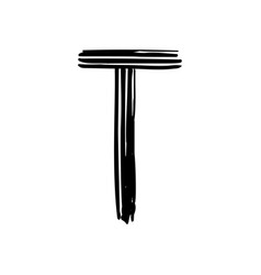 capital letter t painted by brush vector image