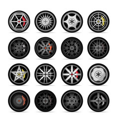 Car titanium rim icon collection vector
