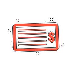 cartoon money check icon in comic style bank vector image