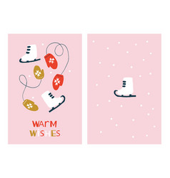 christmas greeting cards with skates and mittens vector image