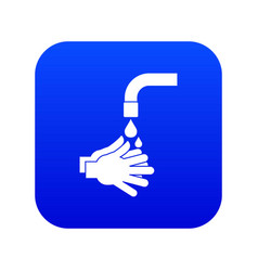 cleaning hands icon digital blue vector image