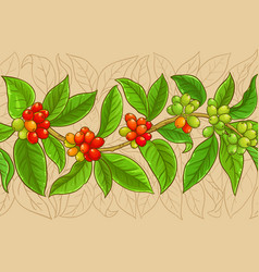 Coffee branches pattern on color background vector