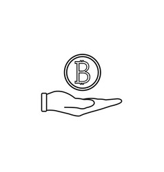 coin in hand line icon finance and business vector image