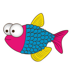 Color silhouette of fish with big eyes and scales vector