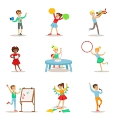 Creative Kids Practicing Different Arts And Crafts vector
