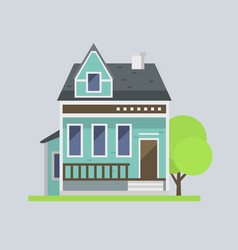 Cute colorful flat style house village symbol real vector