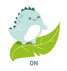 cute dinosaur on leaf learning preposition vector image