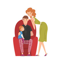 Dad sitting on armchair with son and mom standing vector