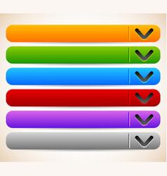 Empty blank oblong long horizontal buttons vector