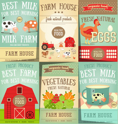 Farm food and agriculture posters set vector