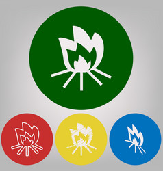 fire sign 4 white styles of icon at 4 vector image