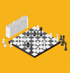 flat chess isometric game isometric series vector image