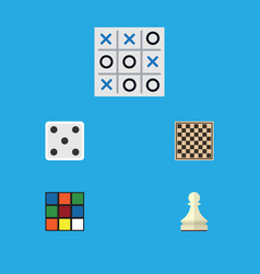 Flat icon games set of xo pawn cube and other vector