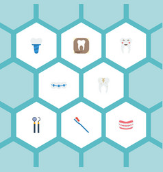 Flat icons decay artificial teeth dentition and vector