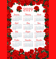 Floral calendar template in red rose flower frame vector