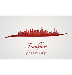 Frankfurt skyline in red vector image