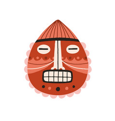 funny ancient african tribal mask with closed eyes vector image
