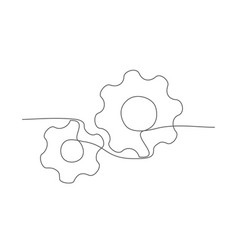 gear one line drawing gear in line style on vector image