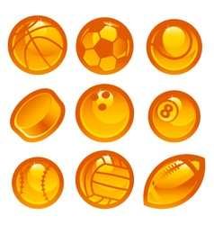 Gold Sport Ball Icons vector image