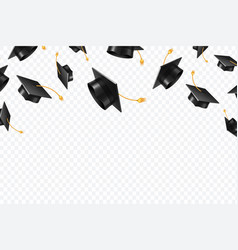 Graduate caps flying black academic hats in air vector