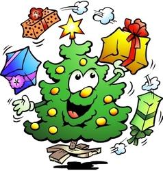 Hand-drawn of an Christmas Who Juggle Gifts vector