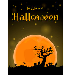 happy halloween full moon concept background vector image