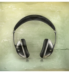 Head phones old-style vector
