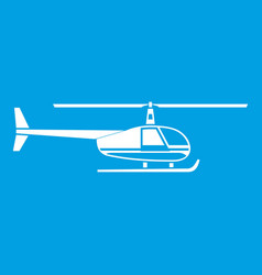 Helicopter icon white vector