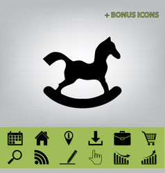Horse toy sign black icon at gray vector