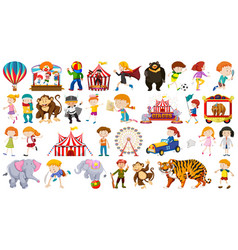 huge set circus fun fair children and animals vector image