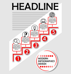 Infographic process template in red and gray vector