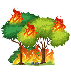 Isolated tree on fire vector