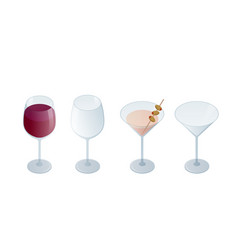 isometric set transparent glass goblets drinks vector image