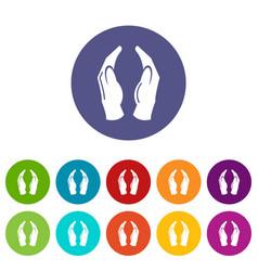 Jainism icons set color vector